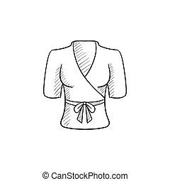 Short female bathrobe sketch icon - Short female bathrobe...
