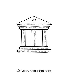 Museum sketch icon - Museum vector sketch icon isolated on...