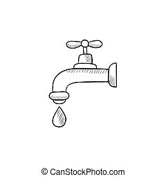 Dripping tap with drop sketch icon - Dripping tap with drop...