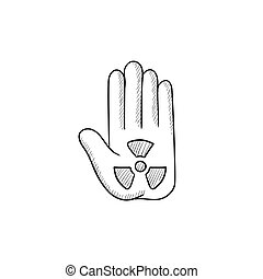 Ionizing radiation sign on a palm sketch icon - Ionizing...
