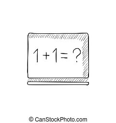 Maths example written on blackboard sketch icon - Maths...