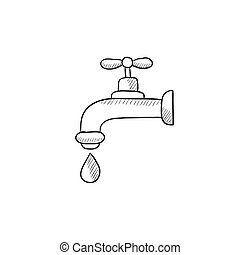 Faucet with water drop sketch icon - Faucet with water drop...
