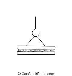 Crane hook sketch icon. - Crane hook vector sketch icon...