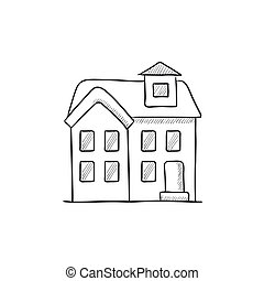 Two storey detached house sketch icon. - Two storey detached...