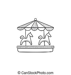 Merry-go-round with horses sketch icon. - Merry-go-round...