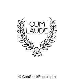 Laurel wreath sketch icon.