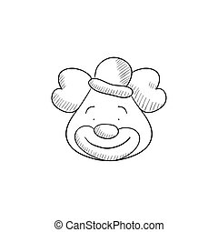 Clown sketch icon - Clown vector sketch icon isolated on...