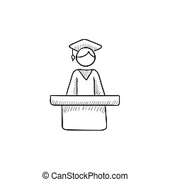 Graduate standing at the tribune sketch icon - Graduate...