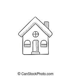 Detached house sketch icon - Detached house vector sketch...