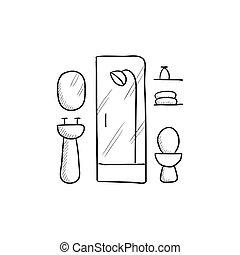Bathroom sketch icon. - Bathroom vector sketch icon isolated...