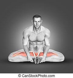 3D male figure in seated abductor stretch - 3D render of a...