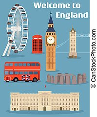 Welcome to England - Vector set of the London famous place and landmark with Tower Bridge, Big Ben, London Eye, Red phone booth, Red double-decker bus and Buckingham Palace