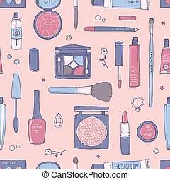 Pink hand drawn makeup and cosmetic seamless pattern. - Hand...
