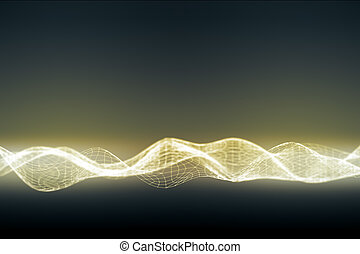 Illuminated digital wave on dark background,
