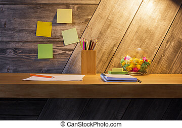 Creative desk with stationery items - Front view of creative...