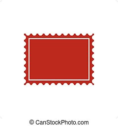 Post Stamp - Red post stamp icon vector illustration...