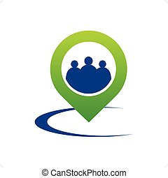 people Traveling - People inside green stylized pointer icon...