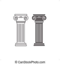Ionic Columns - Two line drawing ionic columns vector...