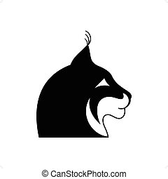 Lynx Head - Stylized black and white lynx head tattoo vector...