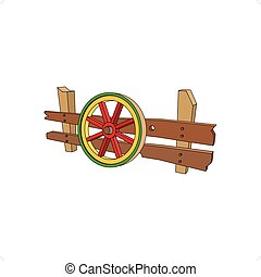 Wooden Carts Wheel - 3D cartoon style wooden carts wheel...