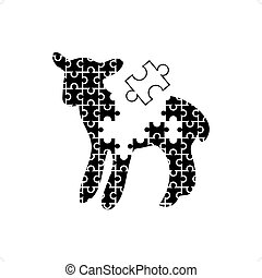 Puzzle Lamb - Cute black and white puzzle like lamb...