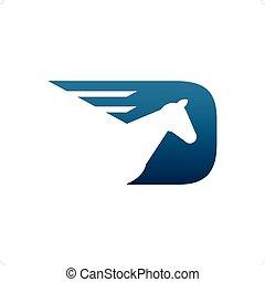Horse Racing - Beautiful blue horse racing logo vector...