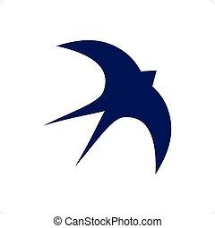 Swallow - Stylized purple swallow silhouette vector...