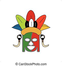 Tribe Ceremonial Mask - Abstract stylized colorful tribe...