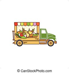 Food Truck - Beautiful cartoon style food truck vector...