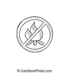 No fire sign sketch icon. - No fire sign vector sketch icon...