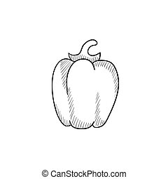 Bell pepper sketch icon - Bell pepper vector sketch icon...