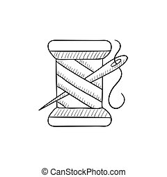 Spool of thread and needle sketch icon. - Spool of thread...