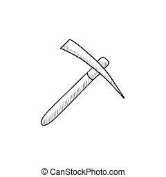 Pickax sketch icon - Pickax vector sketch icon isolated on...