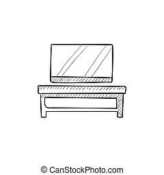 Flat screen tv on modern stand sketch icon.