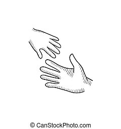 Hands of parent and child sketch icon. - Hands of parent and...