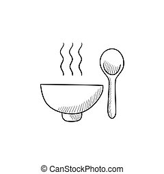 Bowl of hot soup with spoon sketch icon. - Bowl of hot soup...