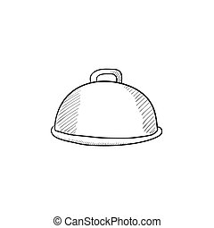 Restaurant cloche sketch icon - Restaurant cloche vector...
