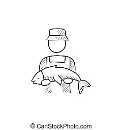 Fisherman with big fish sketch icon - Fisherman with big...