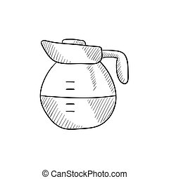 Carafe sketch icon - Carafe vector sketch icon isolated on...