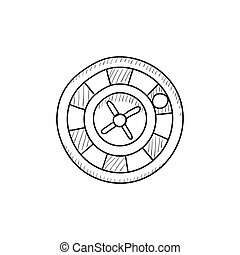 Roulette wheel sketch icon.