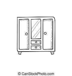 Wardrobe with mirror sketch icon.