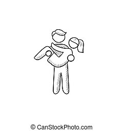 Man carrying his girlfriend sketch icon.
