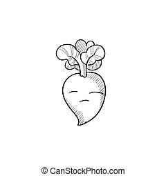 Beet sketch icon - Beet vector sketch icon isolated on...