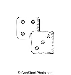 Dice sketch icon - Dice vector sketch icon isolated on...