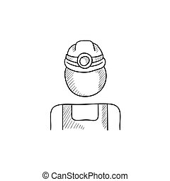Coal miner sketch icon - Coal miner vector sketch icon...