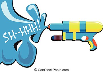 Water gun - Vector illustration of colorful water gun with...