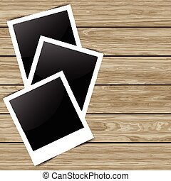 blank photos on wood background 0704