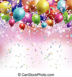 Balloons, confetti and streamers background 0305