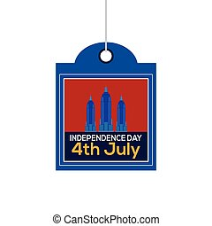 Happy independence day - Isolated label with text and...