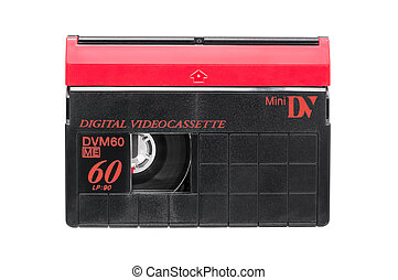 MiniDV video cassette on white background - MiniDV video...